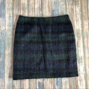 NWT Talbots Green/Black Wool Blend A-Line Skirt 12